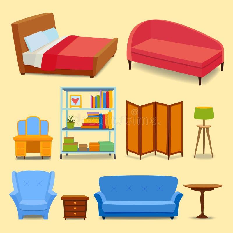 Os ícones interiores da mobília dirigem a sala de visitas moderna do projeto ilustração royalty free