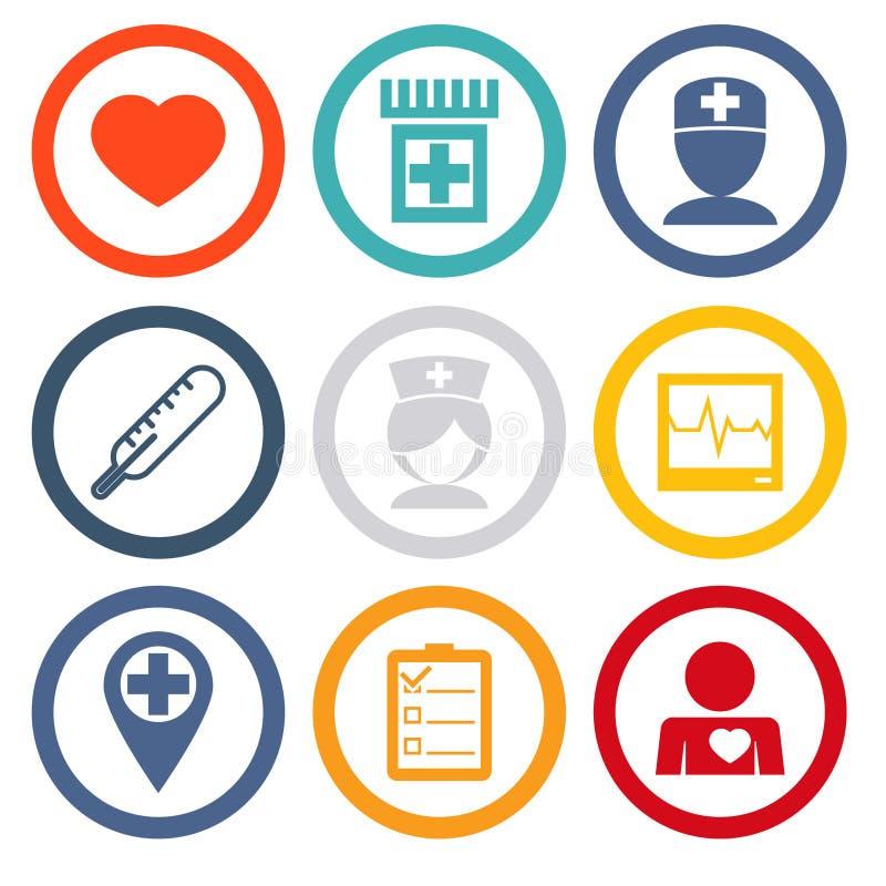 Os ícones isolados ajustaram cuidados médicos e saúde ilustração stock