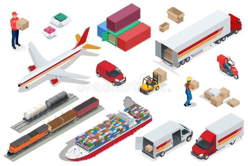 Os ícones isométricos da logística ajustaram-se de veículos diferentes da distribuição do transporte, elementos da entrega Transp ilustração do vetor