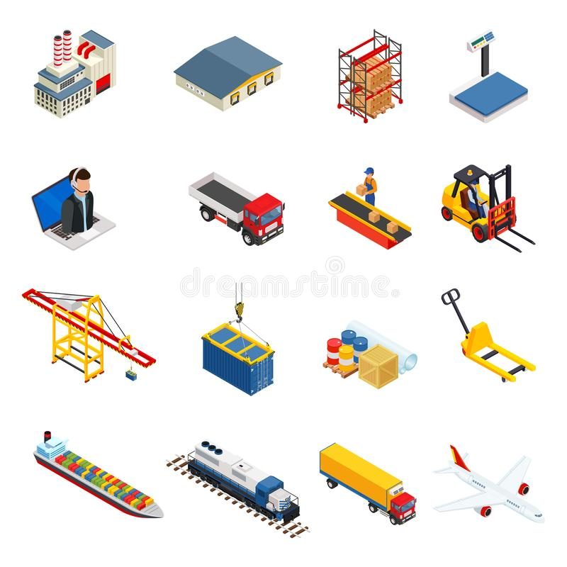 Os ícones isométricos da logística global ajustaram-se de veículos diferentes da distribuição do transporte e dos elementos da en ilustração stock