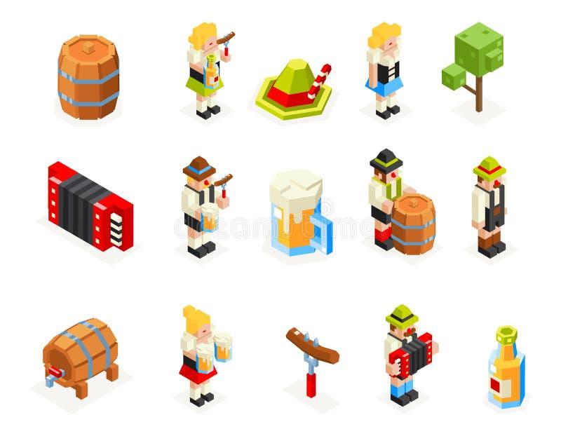 Os ícones isométricos do polígono 3d de Oktoberfest ajustaram a ilustração de vidro do vetor da forquilha da salsicha do tampão d ilustração stock