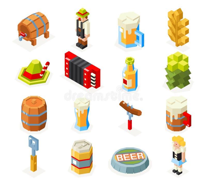 Os ícones isométricos do polígono 3d de Oktoberfest lowpoly ajustaram o projeto liso de vidro da forquilha da salsicha da espuma  ilustração do vetor