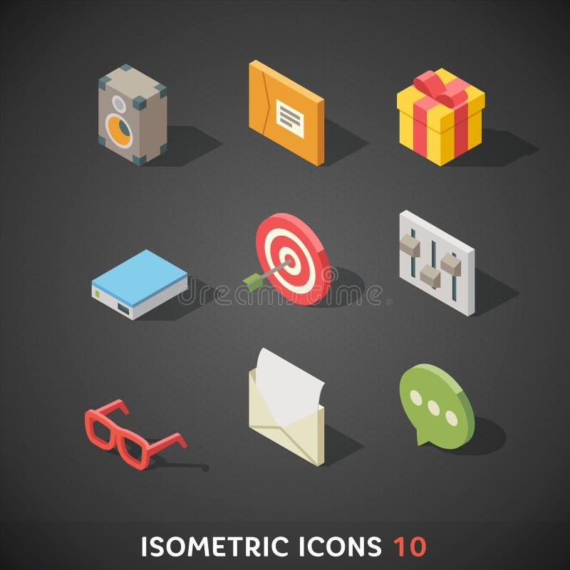 Os ícones isométricos lisos ajustaram 10 ilustração stock