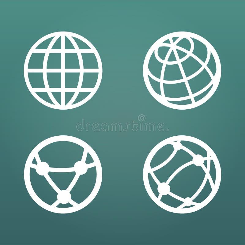 Os ícones lineares brancos do globo ajustaram-se para o ui dos apps da Web Ilustração do vetor isolada no fundo moderno ilustração royalty free