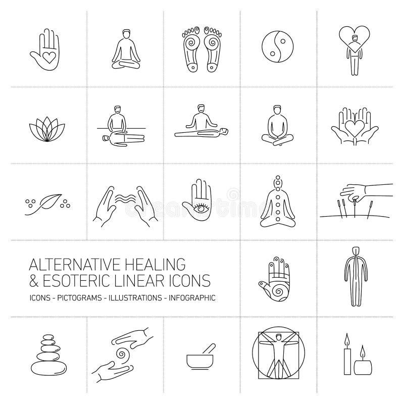Os ícones lineares curas e esotéricos alternativos ajustaram o preto no branco ilustração royalty free