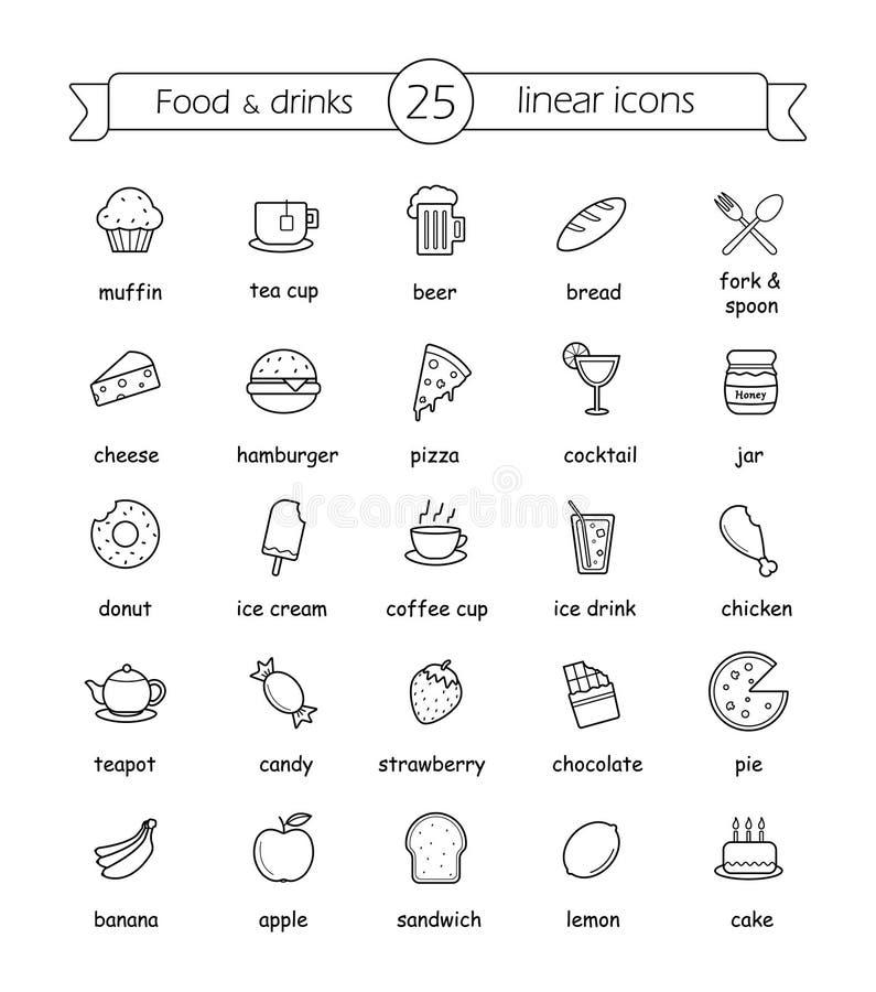 Os ícones lineares do alimento e das bebidas ajustaram-se com sinais ilustração stock