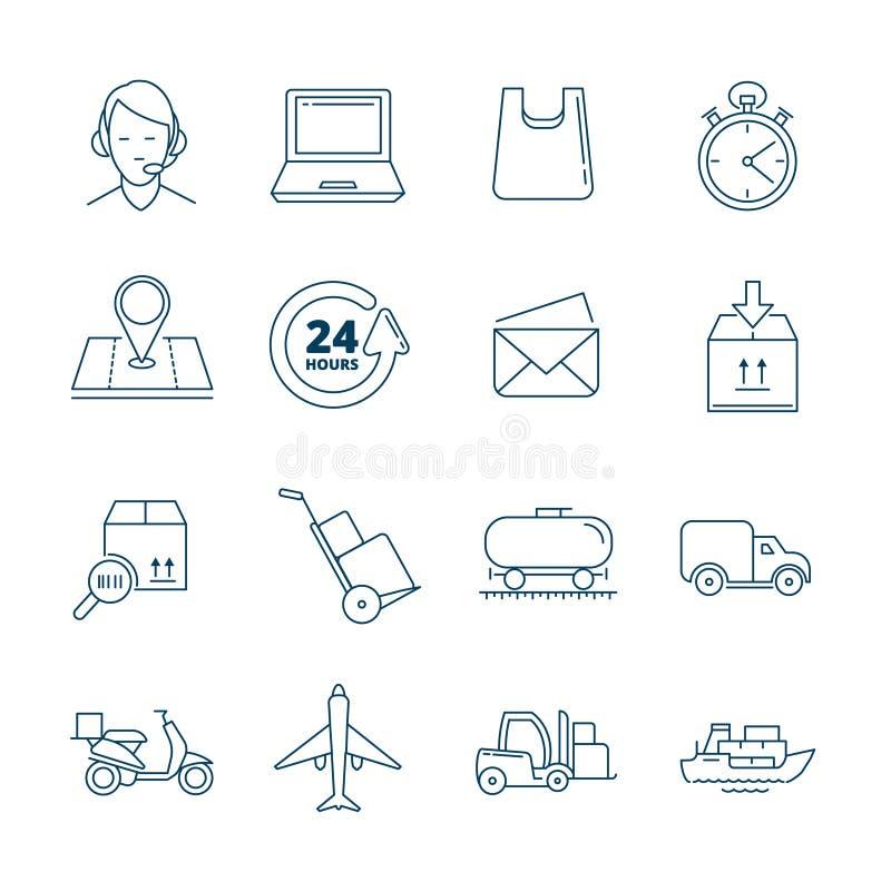 Os ícones lineares do vetor grande ajustaram-se da logística e da entrega ilustração royalty free