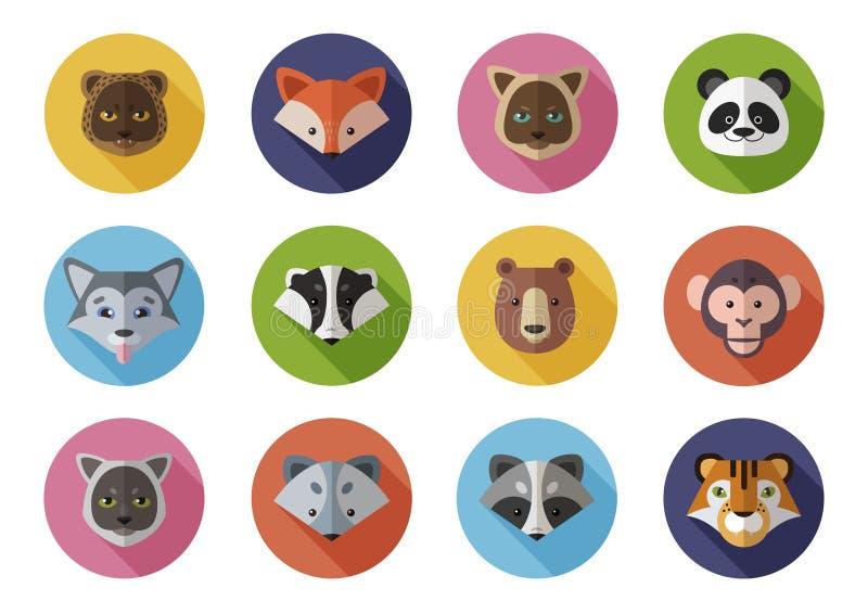 Os ícones lisos ajustam-se de selvagem e dirigem-se animais ilustração do vetor