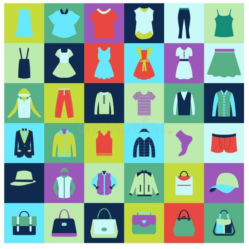 Os ícones lisos ajustaram-se da roupa e dos sacos de forma ilustração do vetor