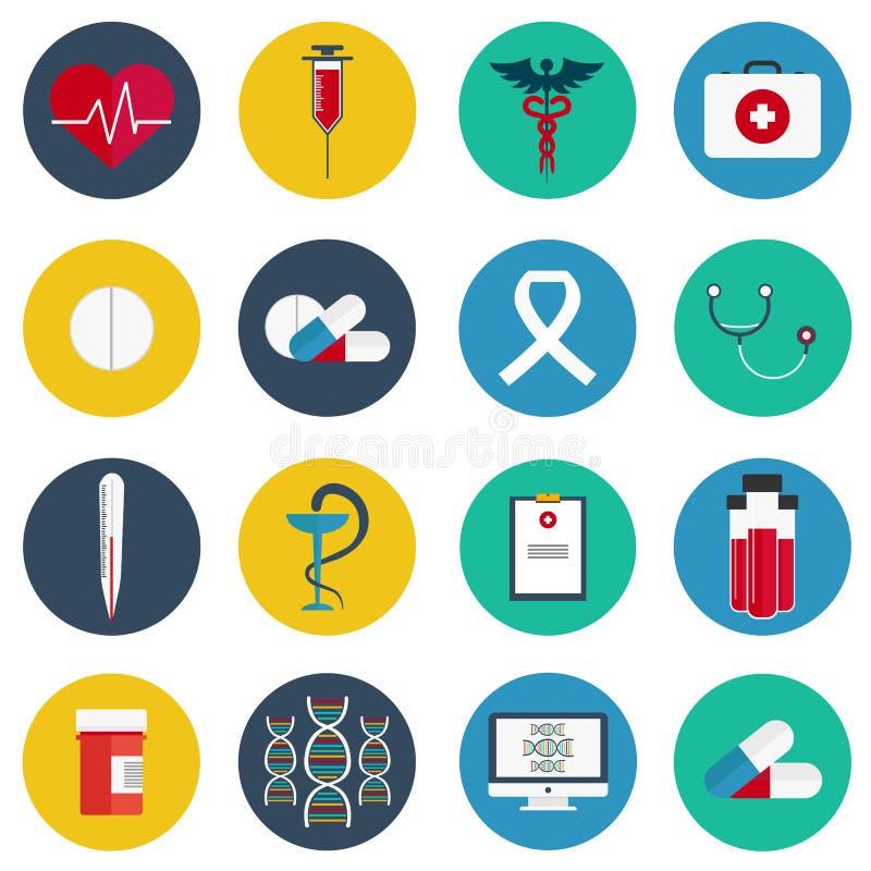 Os ícones lisos ajustaram-se de ferramentas e do equipamento médico dos cuidados médicos, da pesquisa da ciência e do serviço do  ilustração do vetor