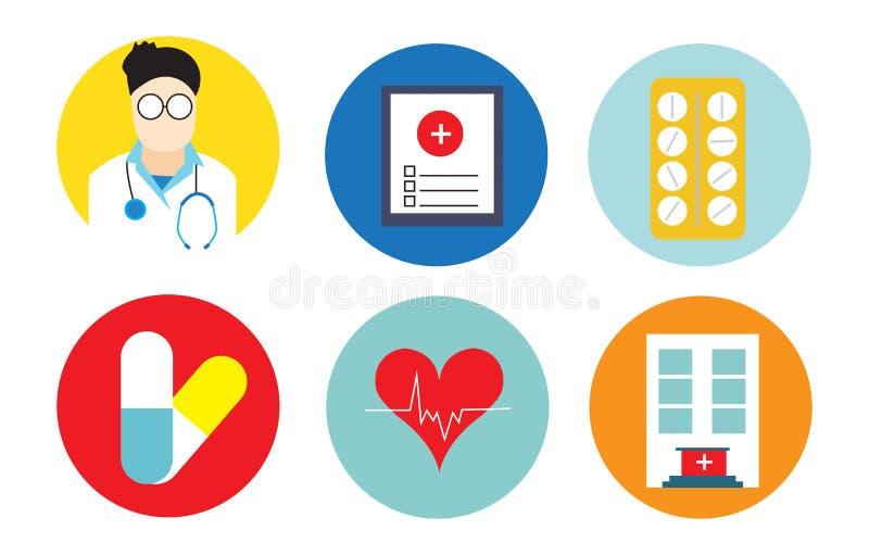 Os ícones lisos ajustaram-se de ferramentas médicas e de saúde ilustração do vetor