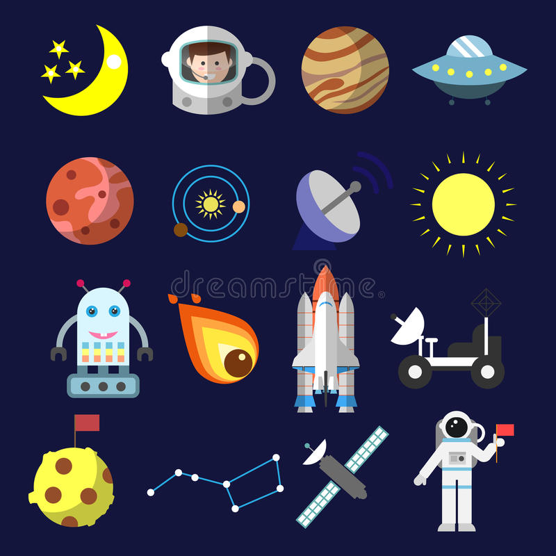 Os ícones lisos com fundo escuro sobre o equipamento do espaço vector a ilustração Coleção colorida das etiquetas do espaço ilustração stock