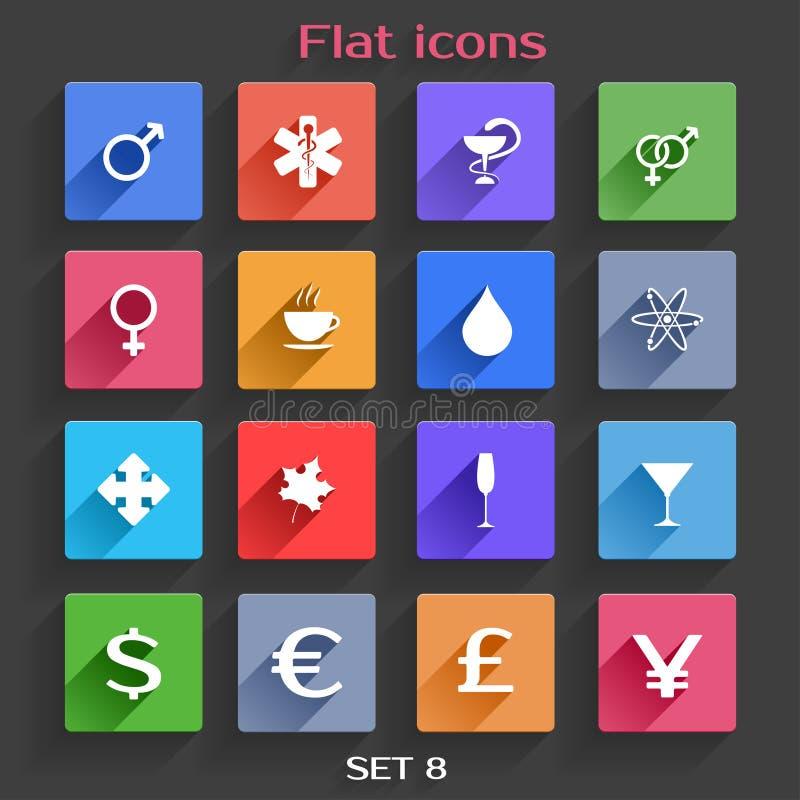 Os ícones lisos da aplicação ajustaram 8 ilustração royalty free