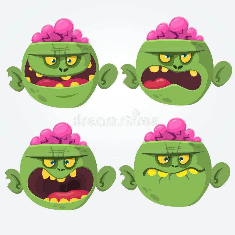 Os ícones lisos da emoção assustador assustador principal do zombi ajustaram desenhos animados ilustração do vetor