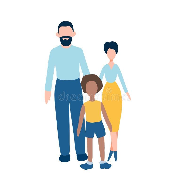 Os ícones lisos da família ajustaram - o homem, a mulher e a criança afro-americana Toda a criança precisa uma família ilustração do vetor