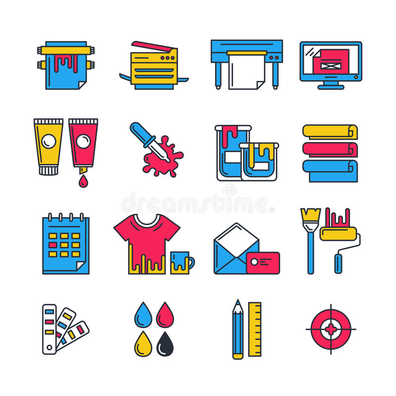 Os ícones lisos da impressão do vetor ajustaram-se em cores do cmyk Conceito para a cópia ilustração do vetor