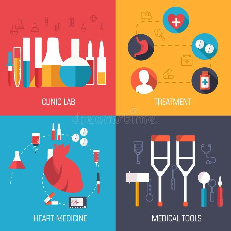 Os ícones lisos da medicina ajustaram o conceito Vetor ilustração stock
