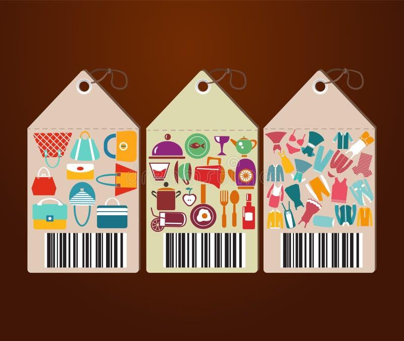 Os ícones lisos das etiquetas dos ícones e do universal da compra dão forma ilustração do vetor