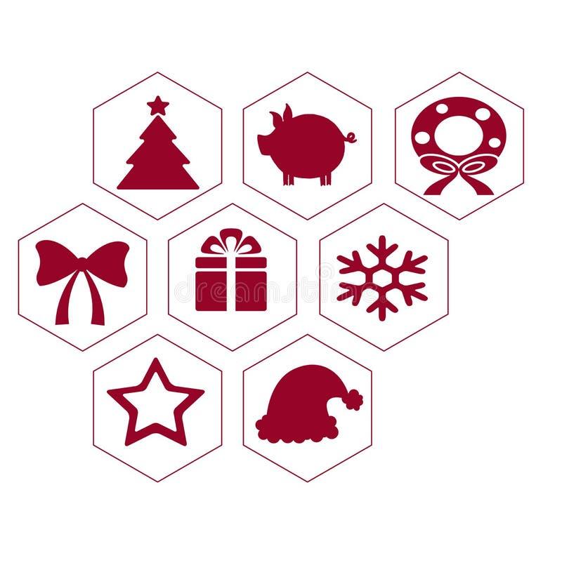 Os ícones lisos de ano novo - um grande grupo do vetor de ícones do feriado no pente ilustração royalty free