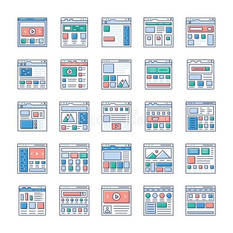 Os ícones lisos de Sitemaps do Web site embalam ilustração stock