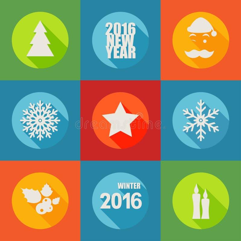 Os ícones lisos do ano novo feliz 2016 ajustaram-se com baga, árvore de Natal, ilustração royalty free