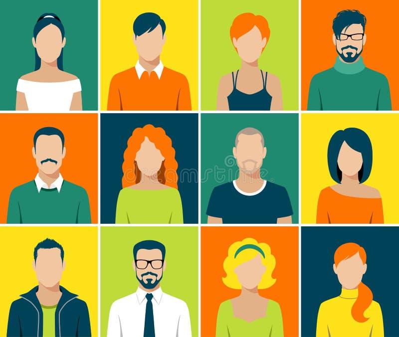Os ícones lisos do app do avatar ajustaram o vetor dos povos da cara do usuário ilustração stock