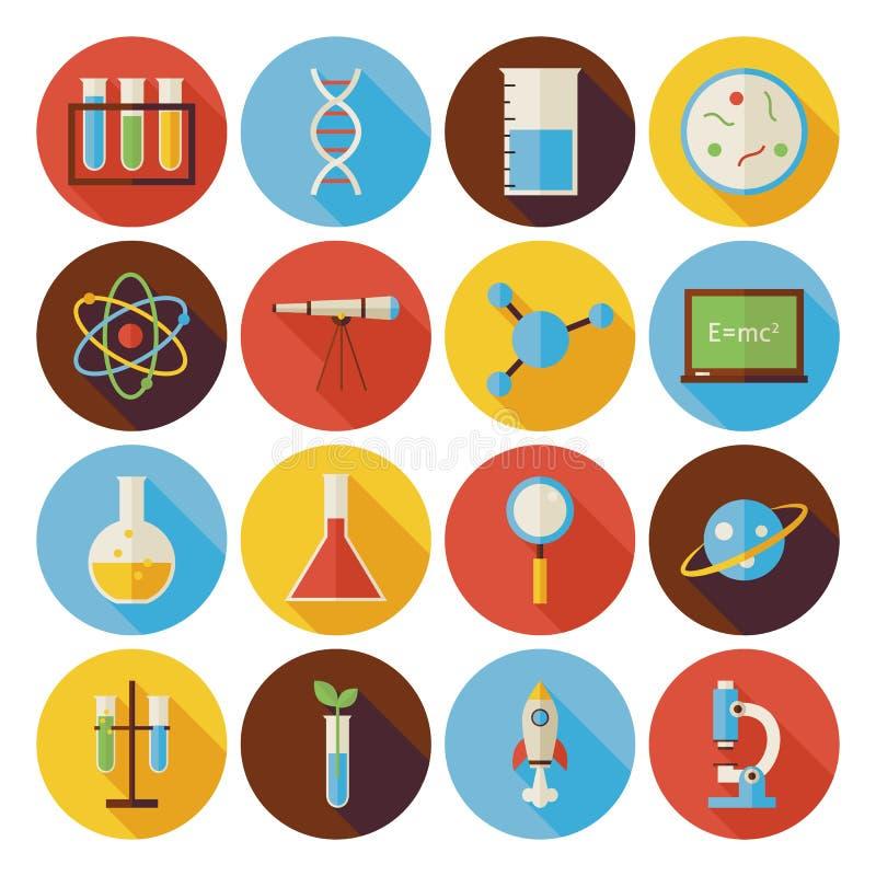Os ícones lisos do círculo da ciência e da educação ajustaram-se com sombra longa ilustração do vetor