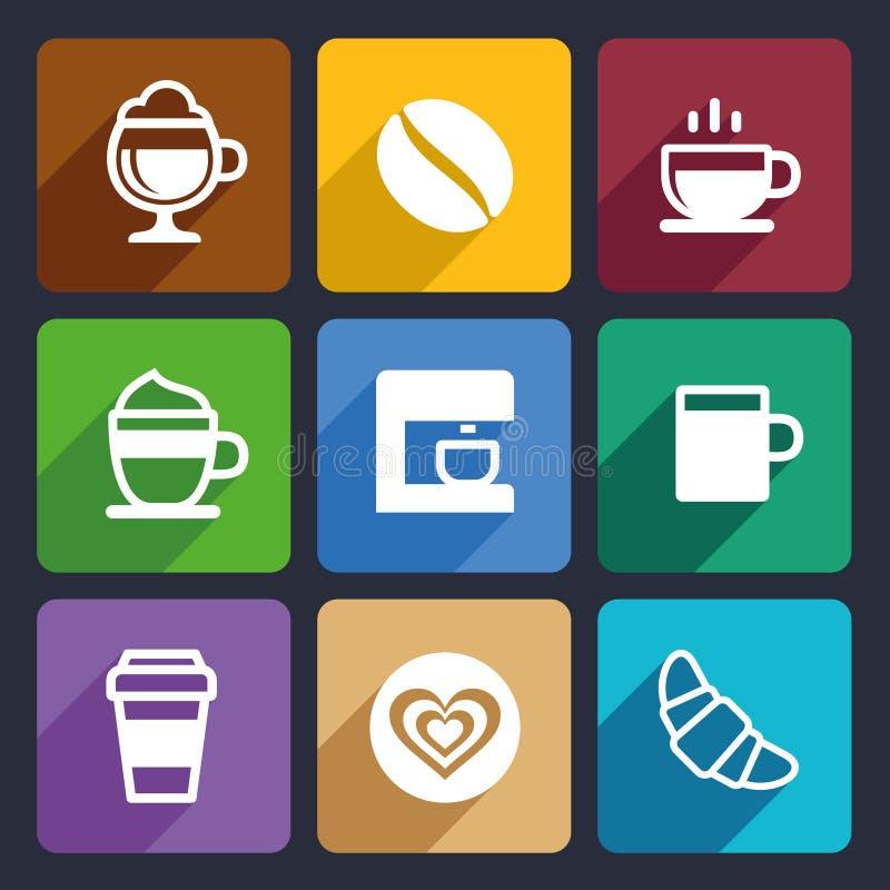 Os ícones lisos do café ajustaram 44 ilustração stock