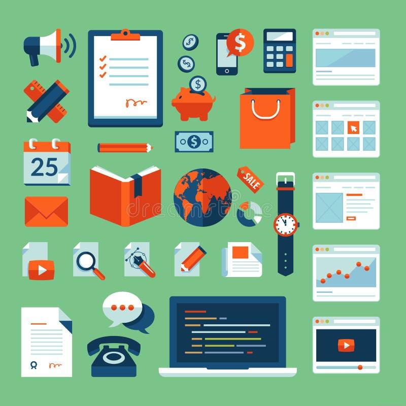 Os ícones lisos do conceito da ilustração do projeto ajustaram-se de elementos de trabalho do negócio ilustração royalty free