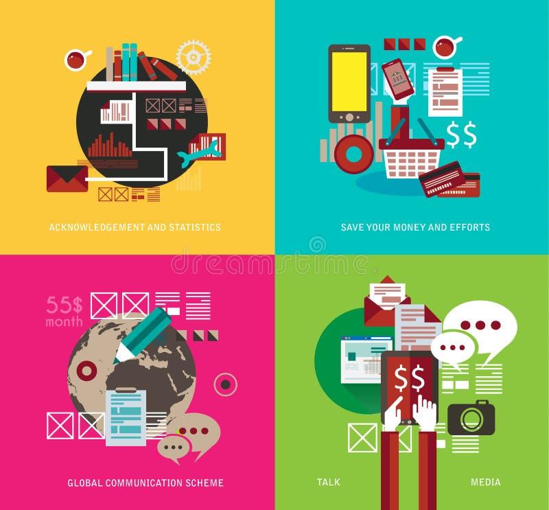 Os ícones lisos do estilo UI a usar-se para seu negócio projetam-se, ilustração stock