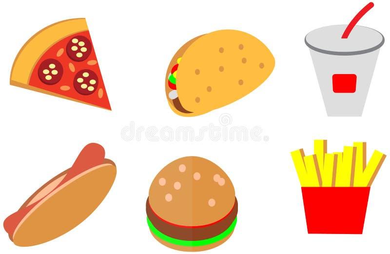 Os ícones lisos do fast food da cor da garatuja dos desenhos animados projetam o menu do café ilustração do vetor