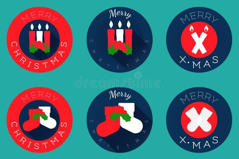 Os ícones lisos do Natal projetam, velas e peúgas ilustração stock