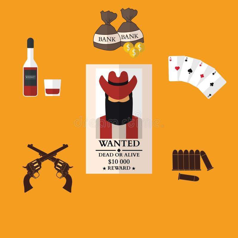 Os ícones lisos do vaqueiro ocidental selvagem com dinheiro da arma ensacam o chapéu ilustração stock