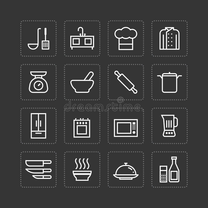 Os ícones lisos do vetor ajustaram-se da cozinha que cozinha o conceito do esboço das ferramentas ilustração stock