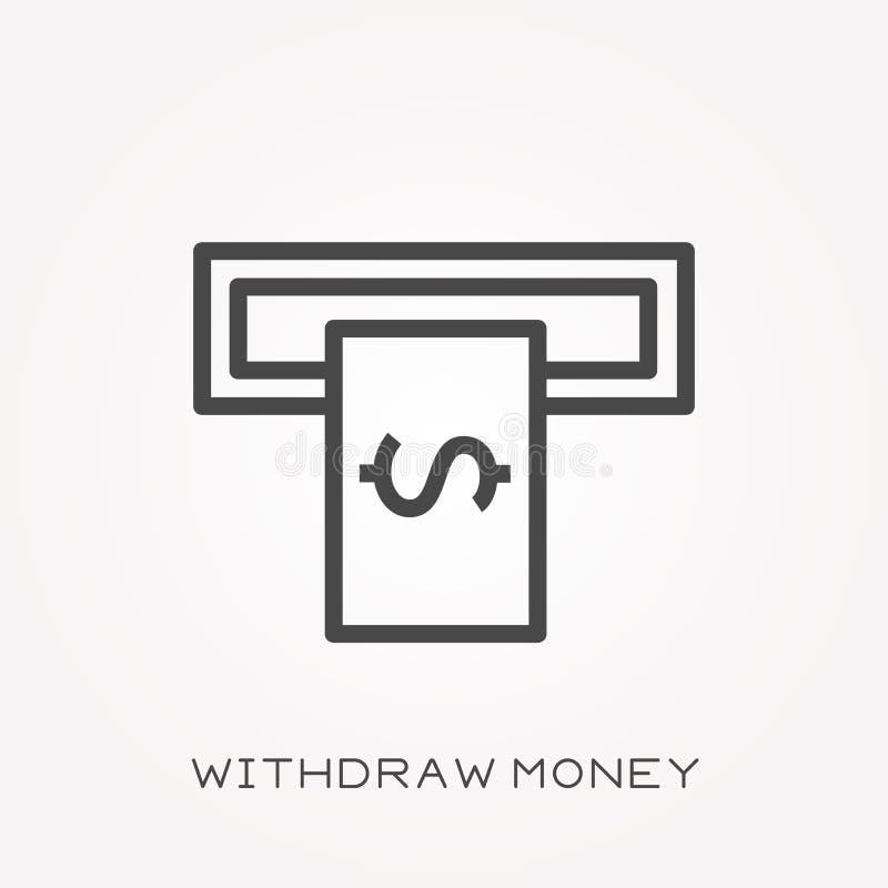 Os ícones lisos do vetor com retiram o dinheiro ilustração stock