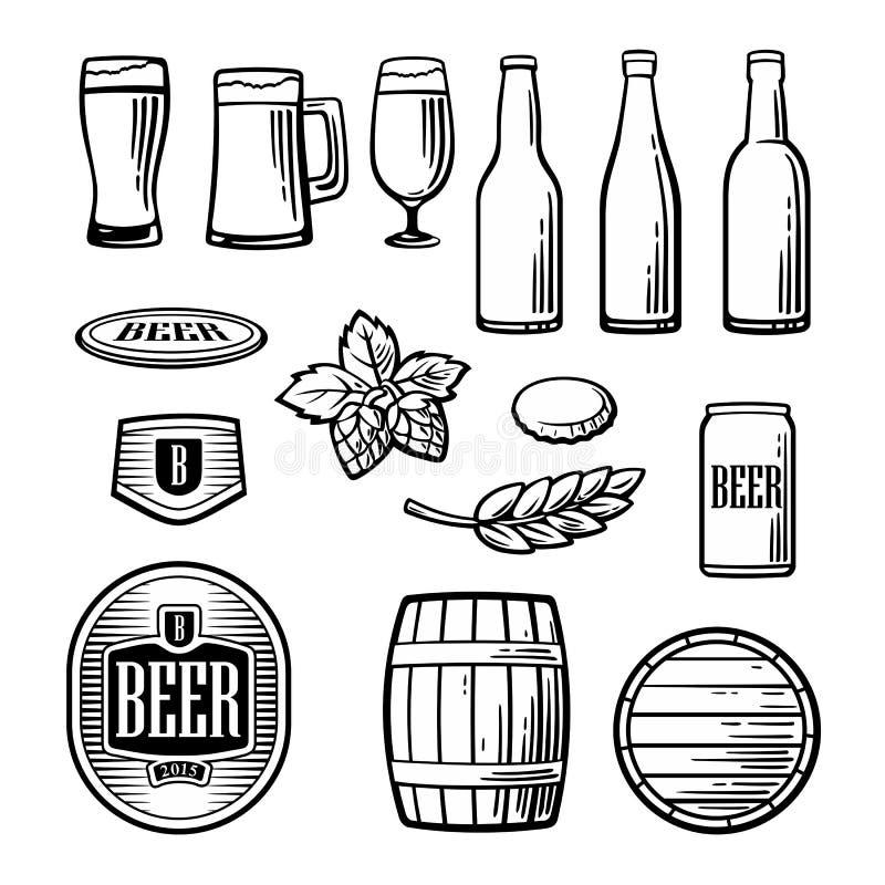 Os ícones lisos do vetor da cerveja ajustaram a garrafa, vidro, tambor, pinta ilustração do vetor