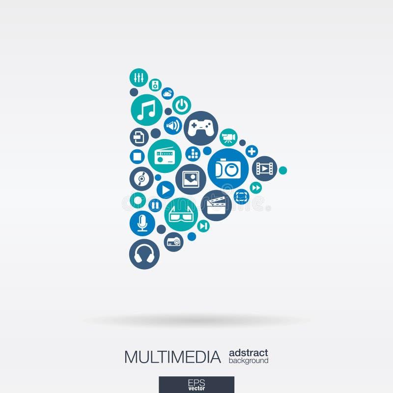 Os ícones lisos em um botão do jogo dão forma, multimédios, tecnologia, conceitos digitais ilustração stock
