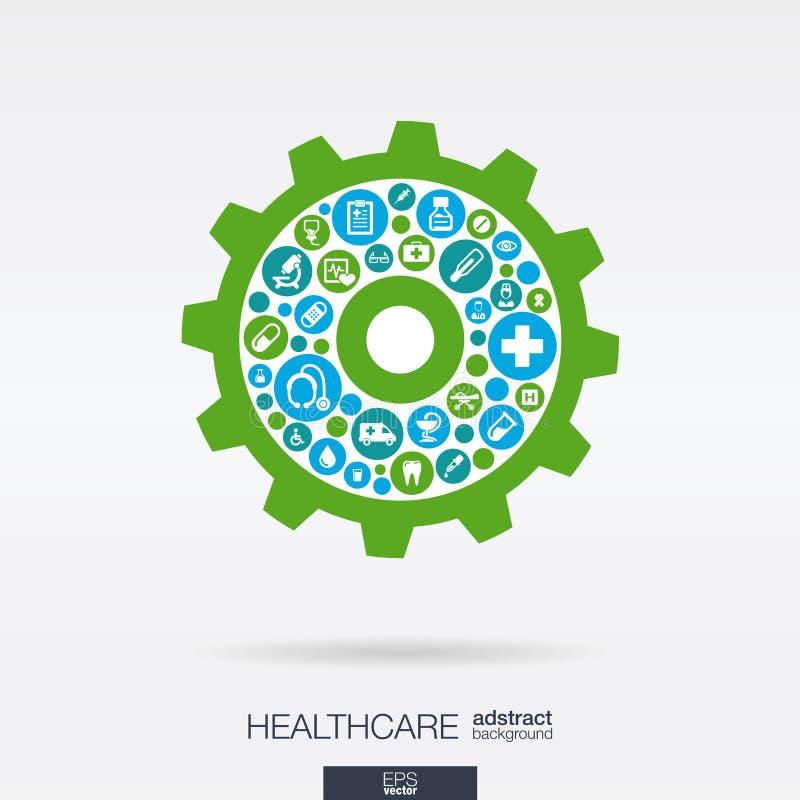 Os ícones lisos em uma roda denteada dão forma, médico, saúde, conceitos do mecanismo dos cuidados médicos ilustração do vetor