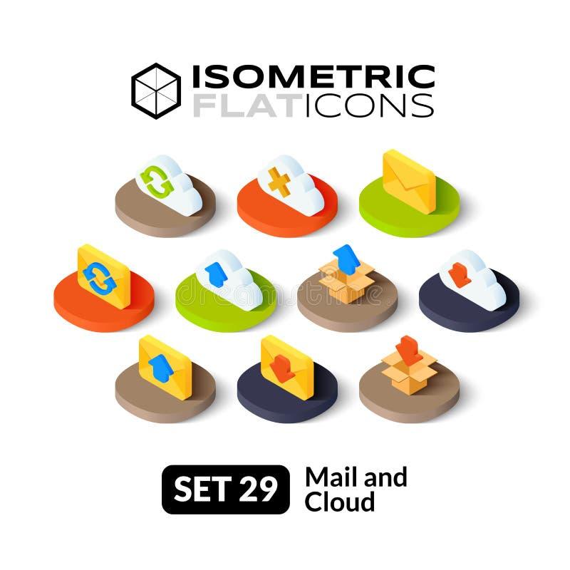 Os ícones lisos isométricos ajustaram 29 ilustração stock