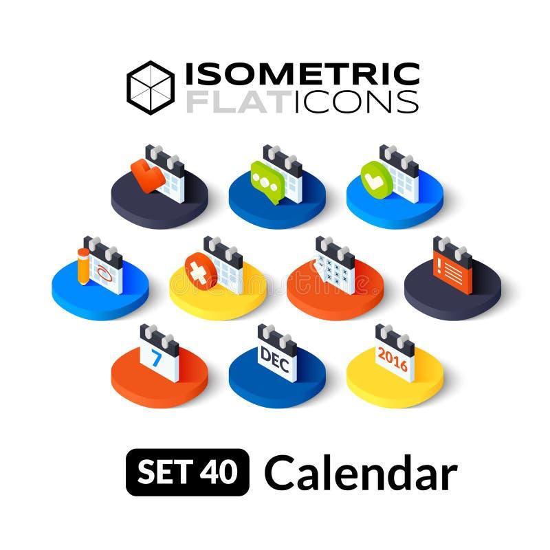 Os ícones lisos isométricos ajustaram 40 ilustração stock