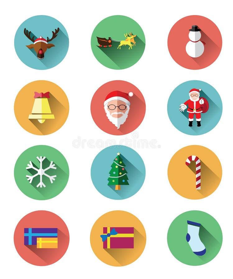 Os ícones lisos modernos ajustaram-se do dia de Papai Noel e de Natal ilustração do vetor