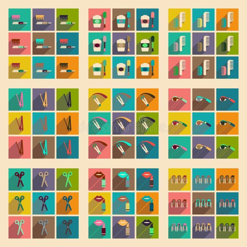 Os ícones lisos modernos vector a coleção com cosméticos da sombra ilustração stock