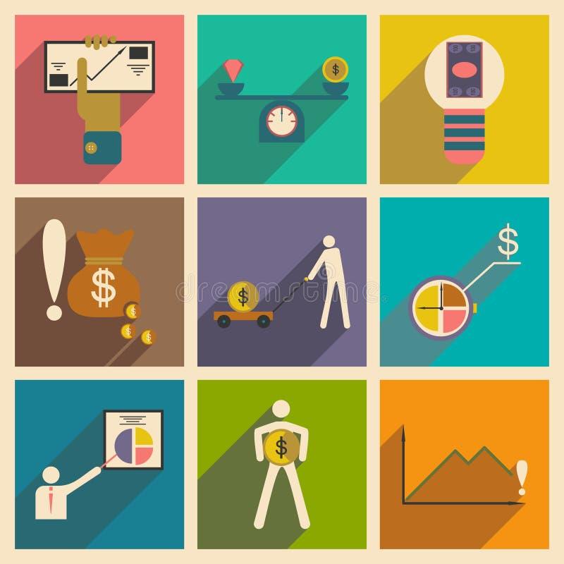 Os ícones lisos modernos vector a coleção com o gráfico da economia do negócio da sombra ilustração do vetor