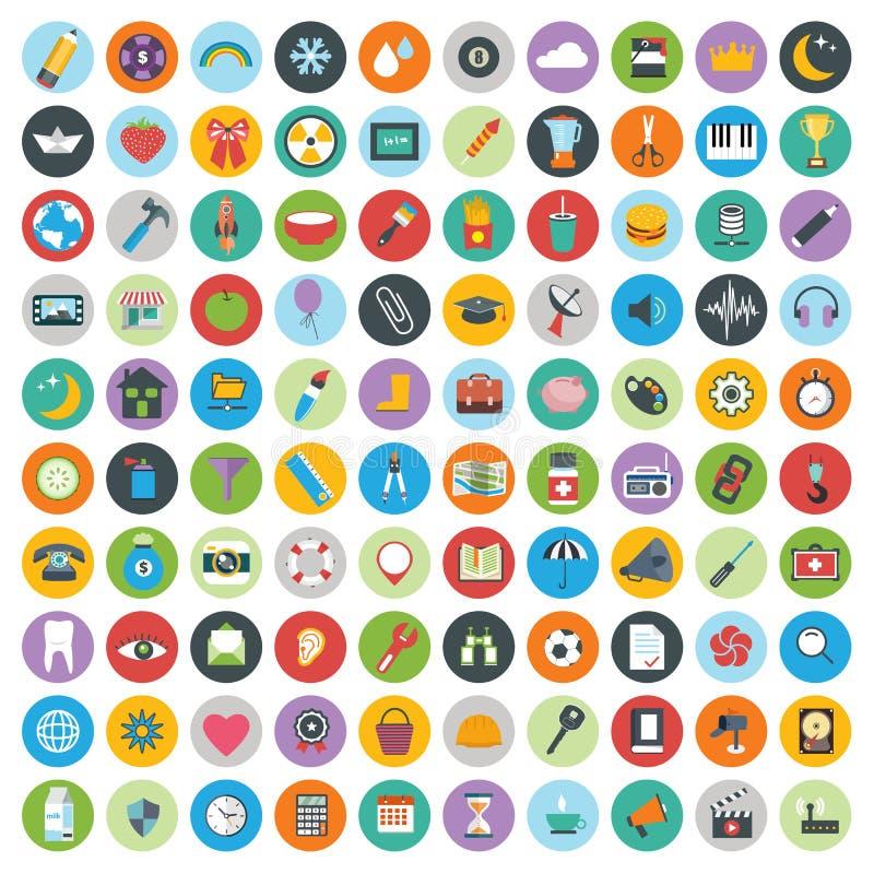 Os ícones lisos projetam a ilustração moderna do vetor Grupo grande de ícones do desenvolvimento da Web e de tecnologia, símbolos ilustração royalty free