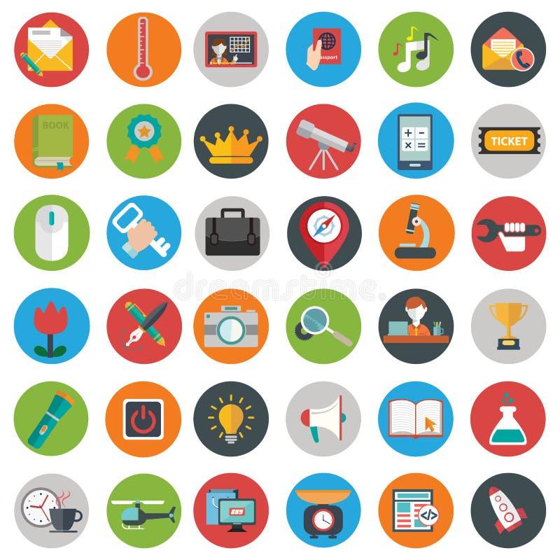 Os ícones lisos projetam o grupo grande da ilustração moderna do vetor de vários artigos do serviço financeiro, Web e desenvolvim ilustração royalty free