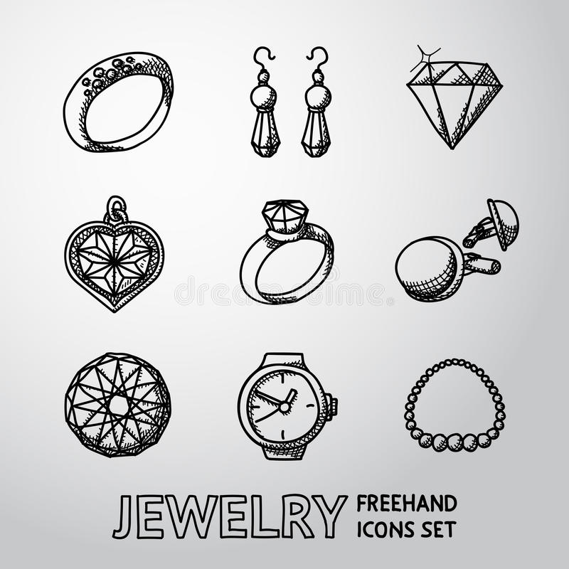 Os ícones a mão livre monocromáticos da joia ajustaram-se com - anéis ilustração do vetor