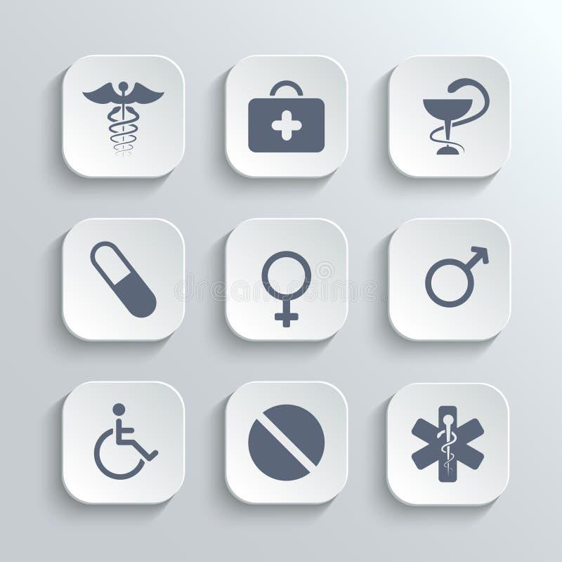 Os ícones médicos ajustam-se - vector os botões brancos do app ilustração royalty free