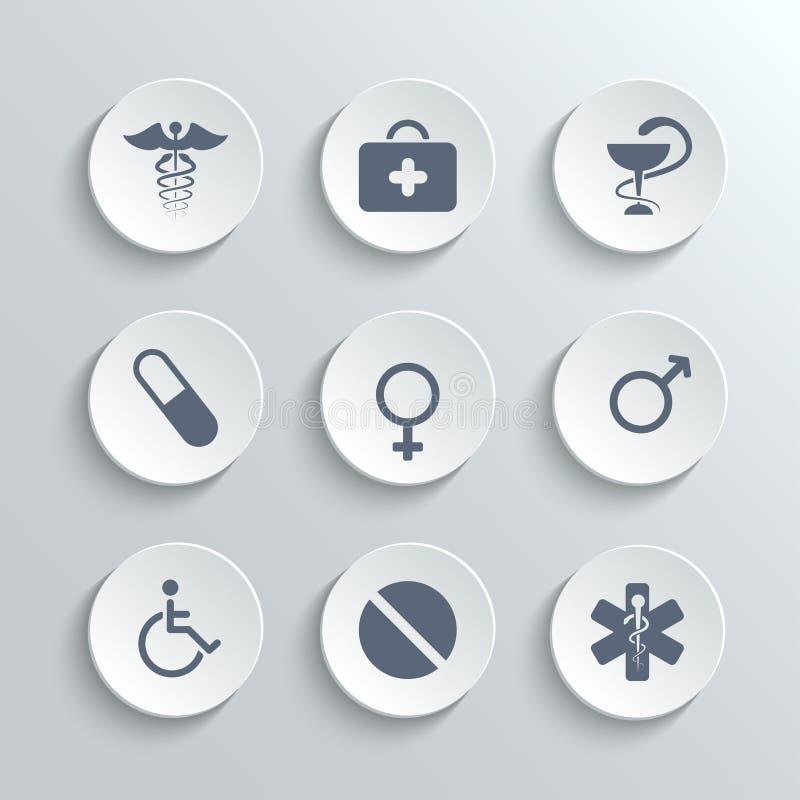 Os ícones médicos ajustam-se - vector os botões redondos brancos ilustração royalty free