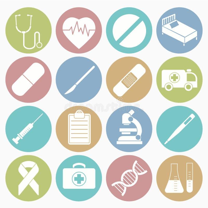 Os ícones médicos ajustaram-se ilustração stock