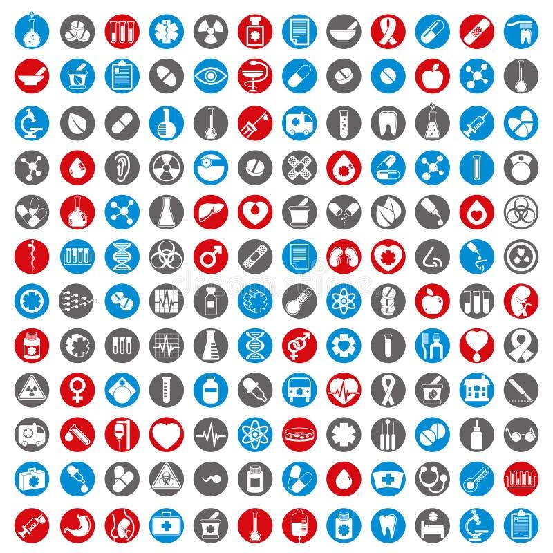 Os ícones médicos ajustaram-se, coleção médica de 144 sinais do vetor foto de stock
